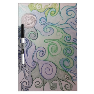 Blue and Green Swirls Modern Art Dry-Erase Board