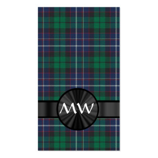 Blue and green tartan business cards