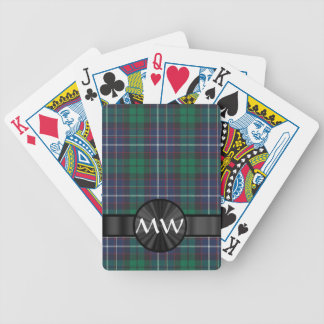 Blue and green tartan plaid bicycle playing cards