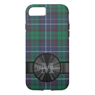 Blue and green tartan plaid monogram iPhone 7 case
