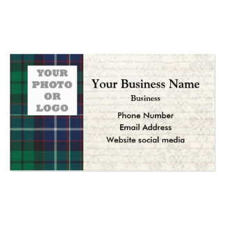 Blue and green tartan plaid photo template Double-Sided standard business cards (Pack of 100)