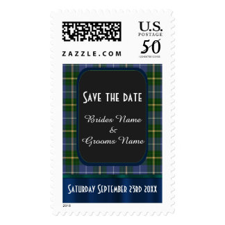 Blue and green tartan plaid save the date postage