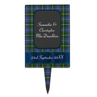 Blue and green tartan plaid wedding cake topper