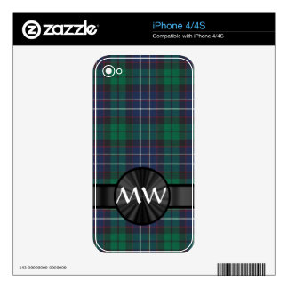 Blue and green tartan skins for iPhone 4
