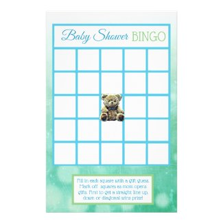 Blue and Green Teddy Bear Boy baby shower games Flyer