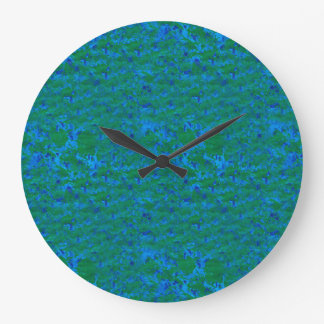Blue and Green Textures Fish in the Sea Clock