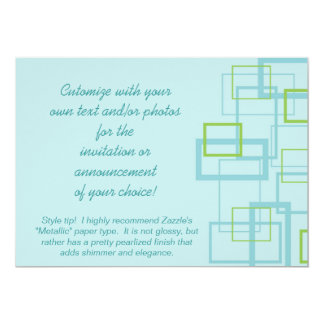 Blue and Green Trendy Squares Invitation
