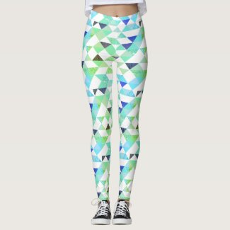 Blue and Green Triangle Leggings