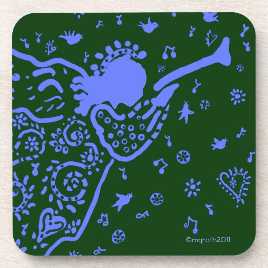 Blue and green trumpet angel coaster