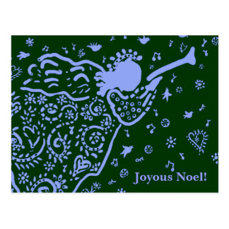 Blue and green trumpet angel postcard