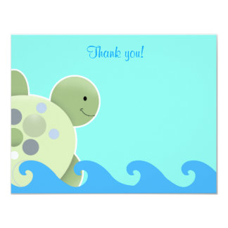 Blue and Green Turtle Flat Thank you note Custom Invitation