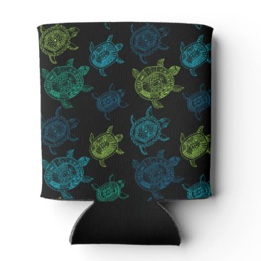 Beach Themed Blue and Green Turtles Can Cooler