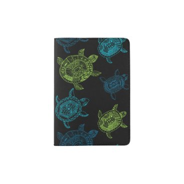 Beach Themed Blue and Green Turtles Passport Holder
