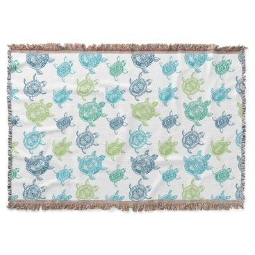 Beach Themed Blue and Green Turtles Throw Blanket