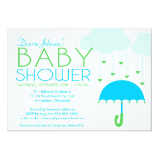 Blue and Green Umbrella Boy Baby Shower Personalized Announcement