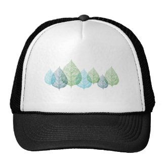 blue and green vein leaves trucker hat