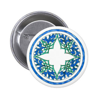 blue and Green victorian Round Graphic Button