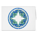 blue and Green victorian Round Graphic Greeting Card