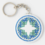 blue and Green victorian Round Graphic Key Chain