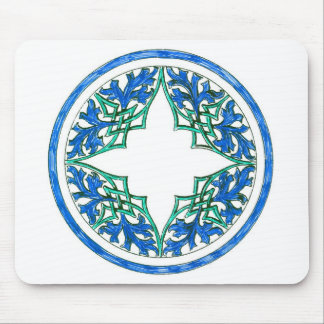 blue and Green victorian Round Graphic Mousepad