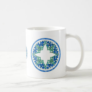 blue and Green victorian Round Graphic Classic White Coffee Mug