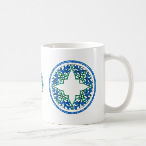 blue and Green victorian Round Graphic Mugs