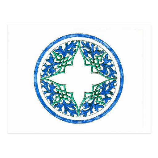 blue and Green victorian Round Graphic Post Cards