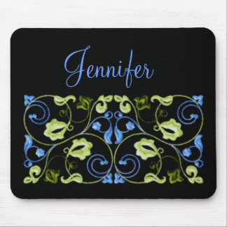 Blue and Green Vine with Name Mouse Pad