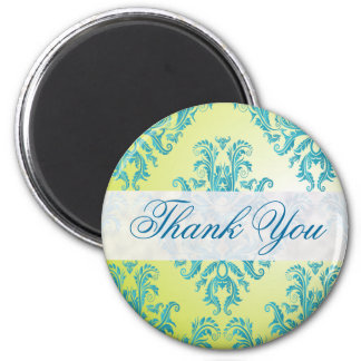Blue and Green Vintage Damask 2 Inch Round Magnet