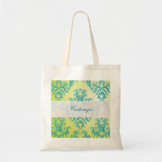 Blue and Green Vintage Damask Canvas Bag