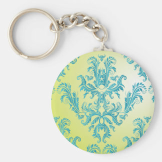 Blue and Green Vintage Damask Basic Round Button Keychain
