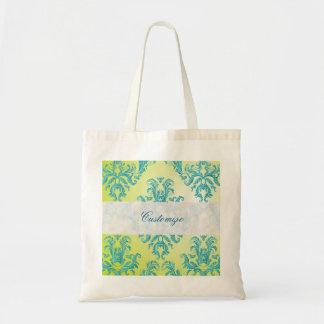 Blue and Green Vintage Damask Budget Tote Bag