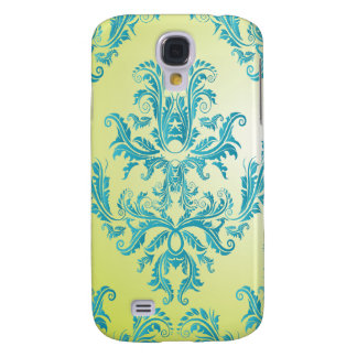 Blue and Green Vintage Damask Galaxy S4 Cover