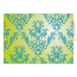Blue and Green Vintage Damask Greeting Card