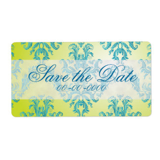 Blue and Green Vintage Damask Label Shipping Label