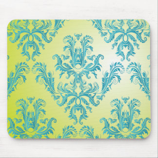 Blue and Green Vintage Damask Mousepad