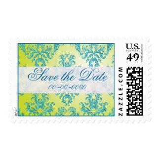 Blue and Green Vintage Damask Postage Stamps