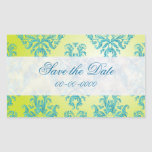 Blue and Green Vintage Damask Stickers