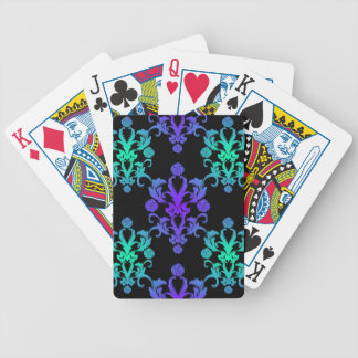 Blue and Green Vintage Damask Style Bicycle Playing Cards