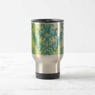 Blue and Green Vintage Damask Travel Mug