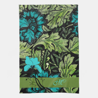 Blue and Green Vintage Floral Monogram Hand Towel