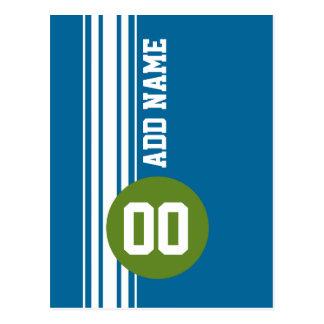 Blue and Green Vintage Racing Stripes Postcard
