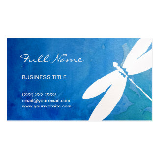 Blue and Green Watercolor Dragonfly Business Cards