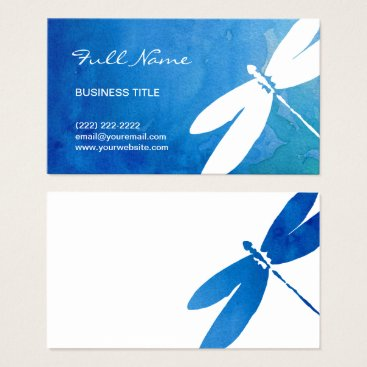 raphaela_wilson Blue and Green Watercolor Dragonfly Business Cards