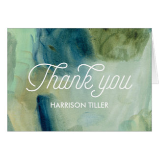 Blue and Green Watercolor Folding Thank You Card