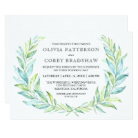 Blue and Green Watercolor Laurel Wreath Wedding Card