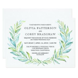 Blue and Green Watercolor Laurel Wreath Wedding Card