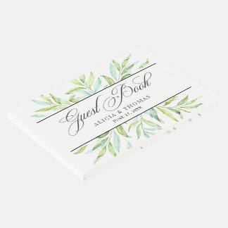 Blue and Green Watercolor Leaves Guest Book