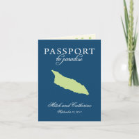 Blue and Green Wedding Passport Aruba Invitation