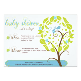 Blue and Green Whimsical Baby Shower Invitation